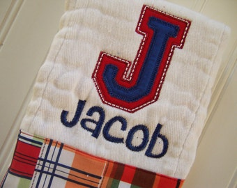Personalized Monogrammed Burp Cloth,  Personalized Burp Cloth for Boys