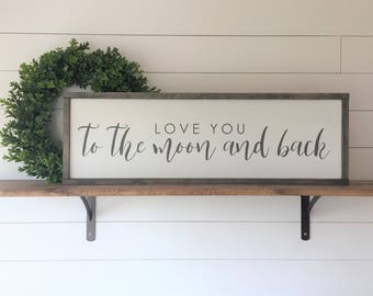 "Love You To The Moon And Back | Framed Painted Wood Signs | 12""x36"" 