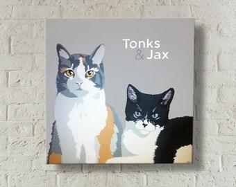 Custom Cat Painting | 2 Cats in One Painting | Custom Pet Portrait | Pet Memorial | Cat Portrait | 2 cats | Gift for Cat Lover