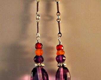 Amethyst Dangle Earrings,Amethyst Drop Earrings,Birthstone Earrings,gemstone dangle earrings,gemstone drop earrings,sterling silver earrings