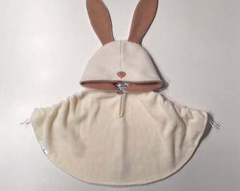 Baby & Kid Bunny Poncho - Cream/Light Yellow and Light Caramel - Car Seat Poncho
