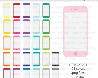 Smartphone Icon Digital Clipart in Rainbow Colors - Instant download PNG files - Cell Phone