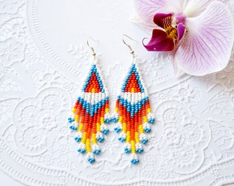 Rainbow earrings Long beaded earrings Long fringe earrings American Indian style jewelry Seed bead Cheap gifts Love gift Birthday gift