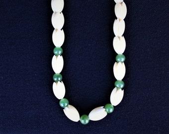 On Sale!! Vintage Carved HAWAIIAN PIKAKE FLOWER & Jade Wedding Necklace