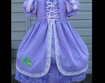 Rapunzel Custom Dress w/Corset Detail(-----)Pascal Embroidery(-----)Grosgrain Ribbon Trim Sleeves(-----)12 Months to girls size 8