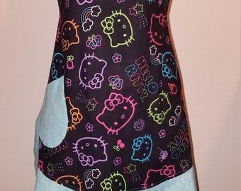 Hello Kitty Apron w/Teal Ruffle