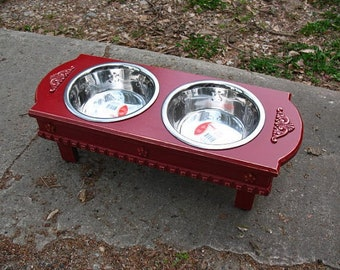 Medium Size Elevated  Dog Bowl Feeder, Colonial Red, 2 Two Quart Stainless Bowls,  Cottage Chic Pet Feeder, Feeding Station,  Made to Order