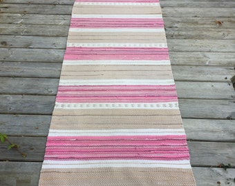 RR1611 Beautiful Traditional Rag Rug Stripes of Pink and Beige Upcycled Floor Cover European