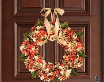 Summer Wreath   Front Door Wreath   Hydrangea Blended Wreath   Wreath   Summer Door Wreath   Housewarming Gift   Hostess Gift