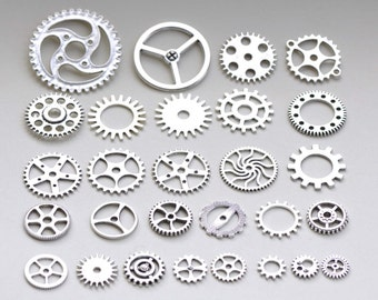 Bulk Gearwheel Charms Antique Silver Steampunk Watch Movements Mixed Style Set of 100 A8223