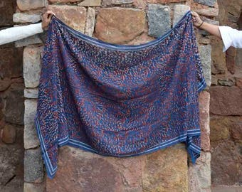 red and Blue scarf, Indigo scarves hand dyed, Navy, block printed scarf wrap Cotton scarf, women Fashion Accessories - Laila
