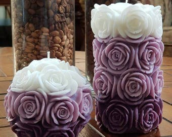 HANDMADE Pair Of Big Carved Rose Candles