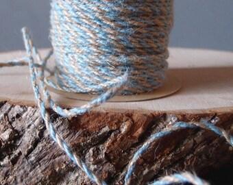 2.5mm x 50 Yards LIGHT BLUE Decorative Two Tone Burlap Jute Rope Twine