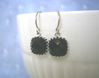 Jet Black Earrings, Black Earrings, Petite Earrings, Silver Earrings, Simple, Everyday Jewelry