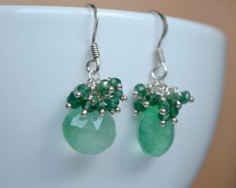 Green aventurine earrings,  green drop earrings, sterling silver jewelry, green cluster earrings, Valentine's day gift
