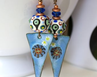Blue Triangle Earrings, Enamel Earrings, Lampwork Earrings, Polka Dot Earrings, Long Earrings, Colorful Boho Earrings, Starburst Earrings