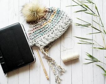 Crochet PATTERN | Split Brim Beanie | Adult Bonnet | Instant Download | Two Tone Hat | Easy Crochet Pattern | Super Bulky Crochet Pattern