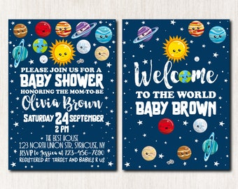 Space Baby Shower Invitation, Outer Space Invitation, Moon Baby Shower Invitation, Planets Invitation, Baby Sprinkle Invitation - 1671