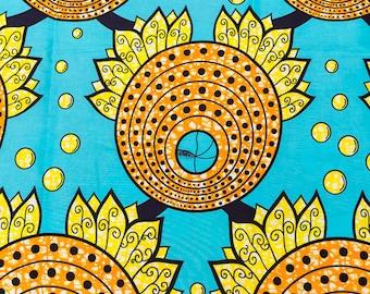 African Fashion HOLLANTEX Green Orange Yellow Circle and Leaves Design htw717108