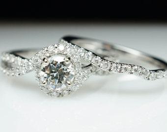Diamond Halo Swirl Engagement Ring & Wedding Band Set 14k White Gold