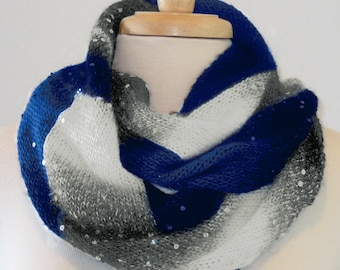 Hand-Knitted Starry Night Cowl in Sapphire/White/Black