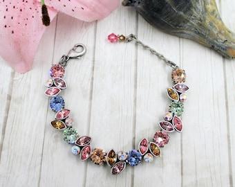 """Swarovski crystal bracelets, """"Petal Pushers,"""" marquis bracelets, marquis earrings, Designer crystal bracelets, Summer crystal bracelets"""