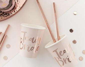 Team Bride - Pink And Rose Gold Foiled Team Bride Cups