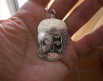David Bowie silver pendant