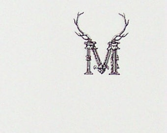 Personalized Antler Monogram Notepad, Deer Stag Elk ,Victorian Vintage Inspired, Wedding Favor, Preppy Note Pads, 75 Sheet Monogrammed