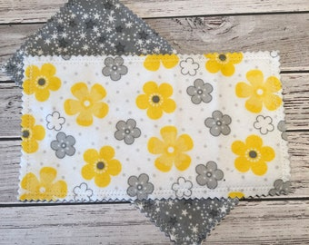 Reusable Dryer Sheets - Flowers - Yellow & Gray - No Waste