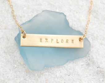 Graduation Personalized Custom Gold Bar Necklace on 14kt Gold-filled Chain