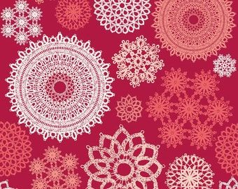 """Roll End REMNANT 40% off, 7/8 yard, 40"""" wide, Laminated cotton fabric aka oilcloth Riley Blake Red Valentine Doilies"""