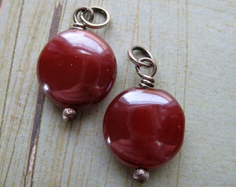 Silvered Carnelian Coin Bead Charms - 1 pair - 20mm in length