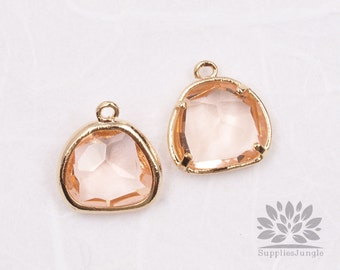 F119-01-G-CH // Silver Framed Champagne Glass Stone Pendant, 2Pcs