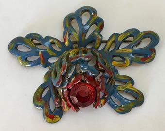 Enamel Peony Brooch – Large Three Dimensional Flower – 1940s Jewelry