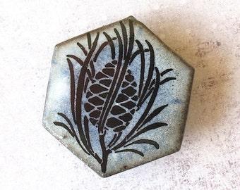 SALE! Pine Cone Brooch. Stonewashed Denim Blue. Black Porcelain. Light Blue. Sky Blue. Woodland. Pine Tree. Evergreen. Up North. Hexagon