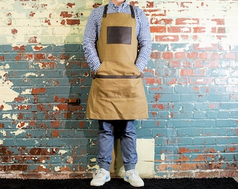 Camel Canvas Apron, Leather and Non Waxed Canvas Apron, Custom Men's Apron with Custom Engraving Brown Apron