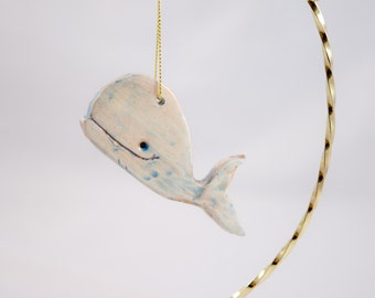 Whale Ornament / FREE SHIPPING / Whale Christmas Tree Ornament / Ceramic Blue and Copper Whale