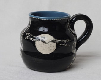 Pottery mug, coffee cup, ceramic mug, teacup, unique handcrafted mug, carved, herons, gift 25 and under, sgraffito