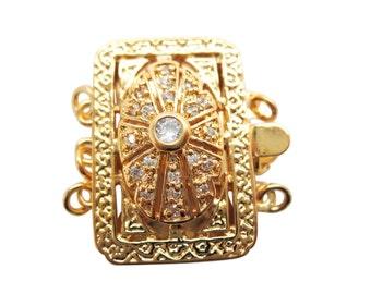 3 Strand Clasp, Multi Strand Clasp, 18K Gold Plated Box Clasp, Rectangle Brass Clasp, Gold Plated Clasp, CZ, 22mm x 23mm x 8mm, SKU 5069