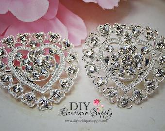 2 pcs Hearts Rhinestone Brooch Crystal Brooches Embellishment for Brooch Bouquet Crystal Wedding Bridal Accessories  32mm 864092