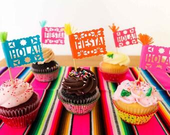 Mexican Fiesta Cupcake Toppers, Cinco de Mayo, Fiesta Birthday Party, Papel Picado Cake Decorations, Set of 12