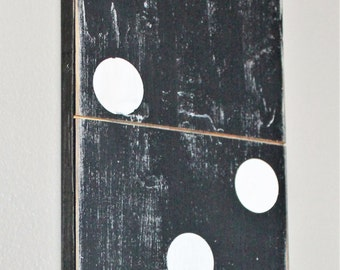 Over Sized Black and White Wooden Large Domino Gallery Wall Art