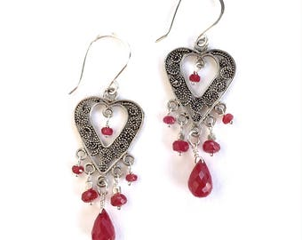 Ruby Heart Chandelier Earrings. Genuine Red Rubies with Turkish Filigree Sterling Silver Earrings. Red July Birthstone  Valentines Day Gift