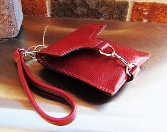 Red leather wristlet, small leather case, small iPhone case, credit cards wallet, Custom to fit iPhone 6, 6s, 7, 8 and X