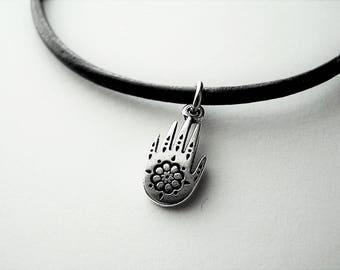 Zen Hand Ankle Bracelet, Leather Anklet, Petite to Plus Size
