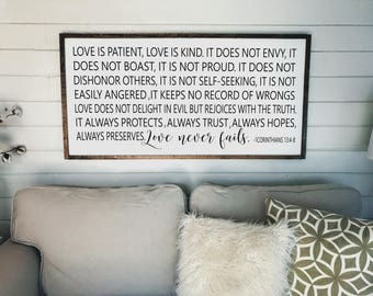 Love is Patient Love is Kind - 1 Corinthians 13:4-8 Sign   Scripture   Wood Signs   Wall Decor   Framed Wood Sign   2 Feet X 4 Feet