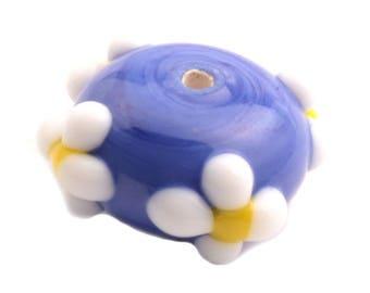 18mm Vintage Czech floral overlay blue rondelle lampwork glass bead
