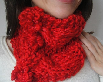 Red Knit Cowl - Cabled Knitted Neckwarmer - Flower Buttons