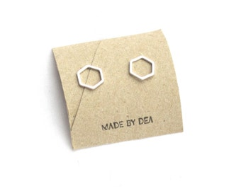 Silver Hexagon Earrings